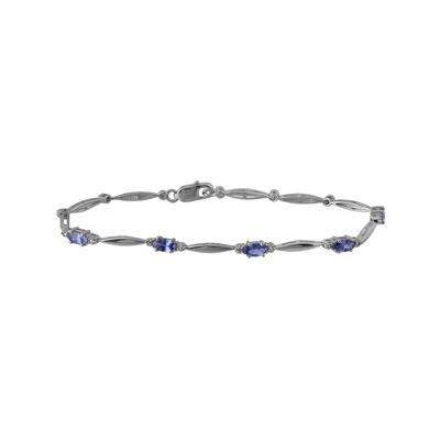 Genuine Tanzanite and Diamond-Accent Sterling Silver Bracelet