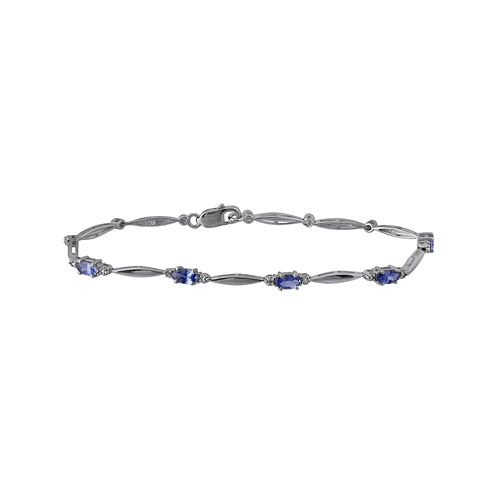 Genuine Tanzanite and Diamond-Accent Sterling Silver Bracelet