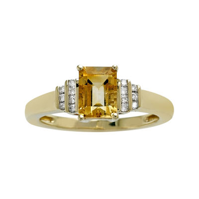 Genuine Citrine and Diamond-Accent 10K Yellow Gold Ring