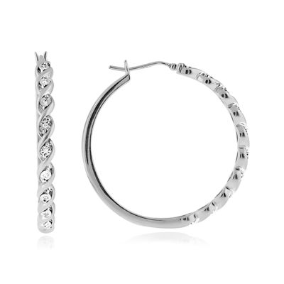 1/10 CT. T.W. Diamond 37mm Twist Hoop Earrings