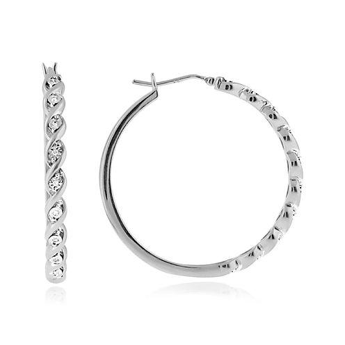 1/10 CT. T.W. Diamond 37mm Twist Hoop Earrings