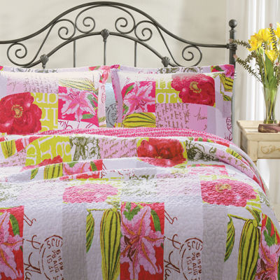 Greenland Home Fashions Love Letters Floral Quilt Set