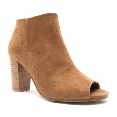 Qupid Lucite 40A Peep Toe Booties
