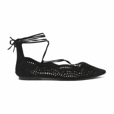 Qupid Strike Lace-Up Flats