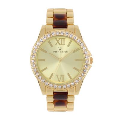 Worthington® Womens Gold Tone And Tortoise Bracelet Watch