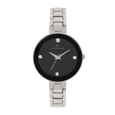 Worthington® Womens Silver Tone Black Dial Bracelet Watch