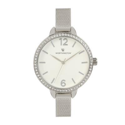 Worthington® Womens Silver Tone Mesh Bracelet Watch