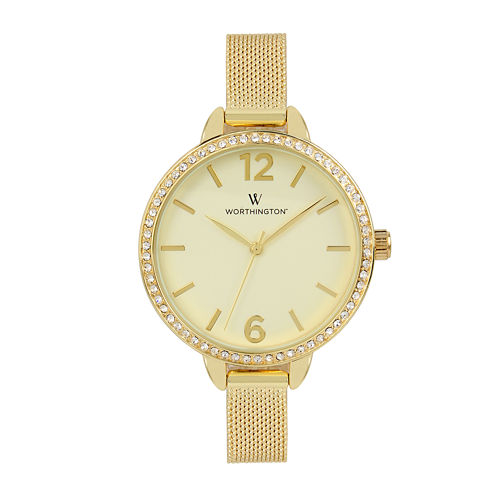 Worthington® Womens Gold Tone Mesh Bracelet Watch
