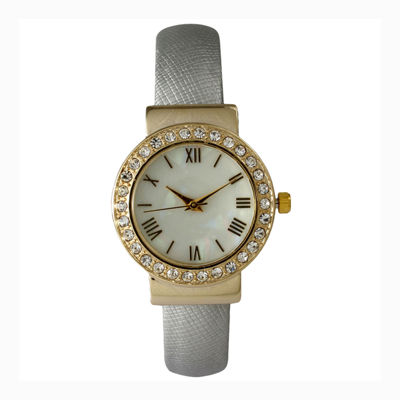 Olivia Pratt Womens Gold-Tone White-Dial Cuff Watch