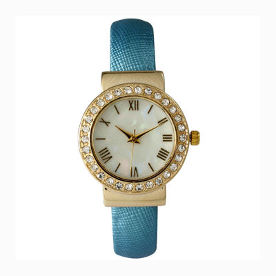 Olivia Pratt Womens Gold-Tone and Blue Cuff Watch