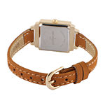 Peugeot® Womens Brown And Gold Tone Petite Crystal Accent Suede Strap Watch 3047G