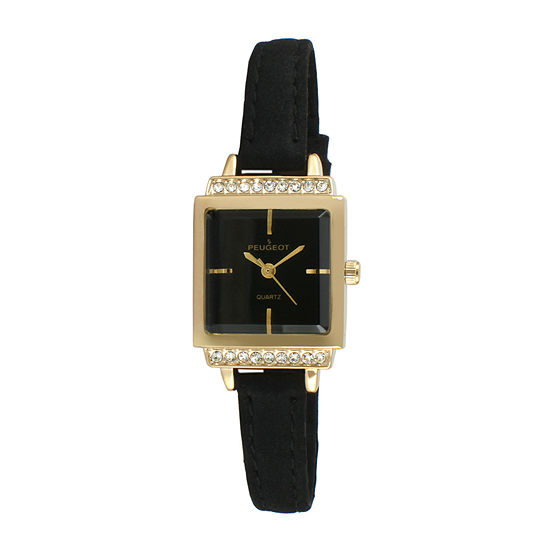 Peugeot® Womens Gold Tone And Black Petite Crystal Accent Suede Strap Watch 3047GBK