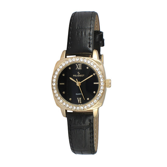 Peugeot® Womens Gold Tone And Black Crystal Bezel Leather Strap Watch 3048BK