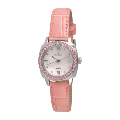 Peugeot® Womens Silver Tone And Pink Textured Leather Strap Watch 3048PK