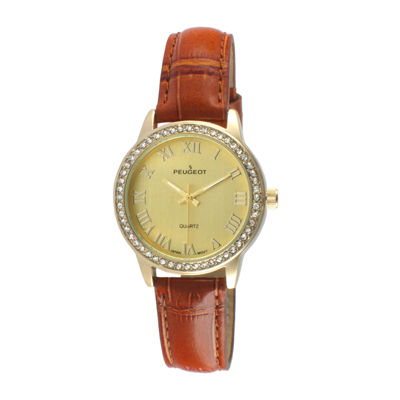 Peugeot® Womens Gold Tone And Brown Textured Leather Strap Watch 3049BR