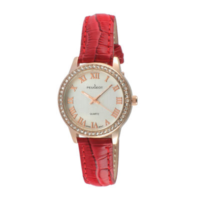 Peugeot® Womens Rose Gold Tone And Red Textured Leather Strap Watch 3049RD