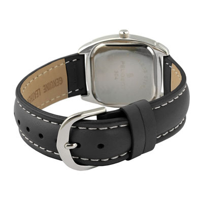 Peugeot® Womens Silver Tone And Black Crystal Bezel Leather Strap Watch 304BK