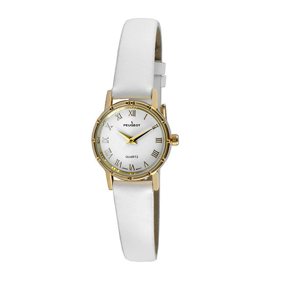 Peugeot® Womens Gold Tone And White Leather Strap Watch 3051WT