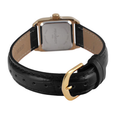 Peugeot® Womens Gold Tone And Black Roman Numeral Leather Strap Watch 3052BK