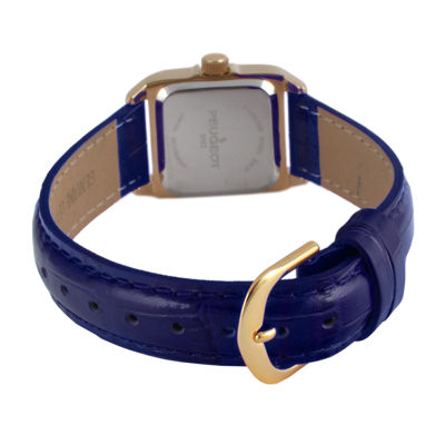 Peugeot® Womens Gold Tone And Blue Leather Strap Watch 3052BL