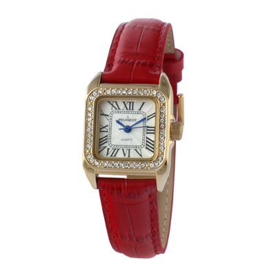 Peugeot® Womens Gold Tone And Red Leather Strap Watch 3052RD
