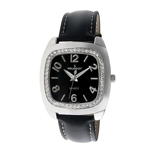Peugeot® Womens Black Crystal Bezel Boyfriend Leather Strap Watch 310BK