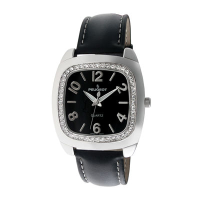 Peugeot® Womens Black Crystal Bezel Boyfriend Leather Strap Watch 310BK