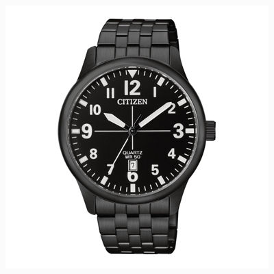 Citizen® Quartz Men'S Black Ion Plated Calendar Bracelet Watch Bi1055-52E