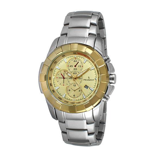 Peugeot® Men's Silver Tone Yellow Dial Calendar Bracelet Watch 1044C