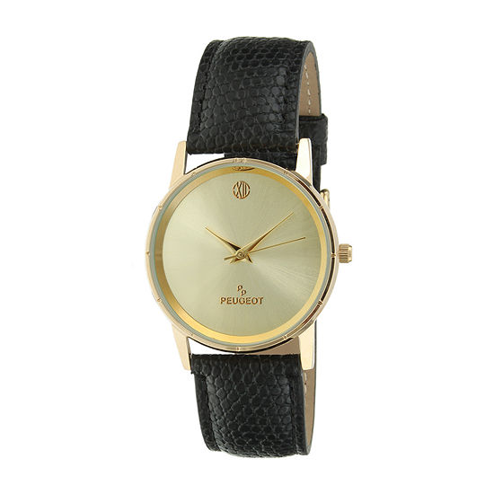 Peugeot® Men's Gold Tone And Black Slim Leather Strap Watch 2043CH