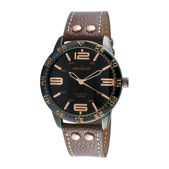 Peugeot® Men's Silver Tone And Brown Leather Strap Watch 2049BBR