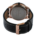 Peugeot® Men's Black And Rose Gold Tone Leather Strap Watch 2049RBK