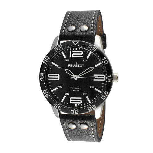 Peugeot® Men's Black And Silver Tone Leather Strap Watch 2049SBK