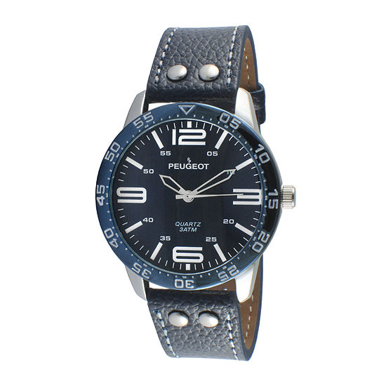 Peugeot® Men's Silver Tone And Blue Leather Strap Watch 2049SBL