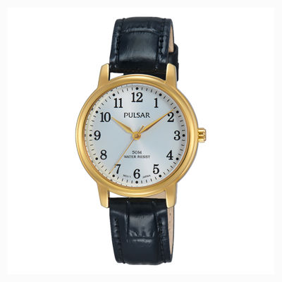 Pulsar® Womens Gold Tone Black Dial Easy Style Bracelet Watch Psr676