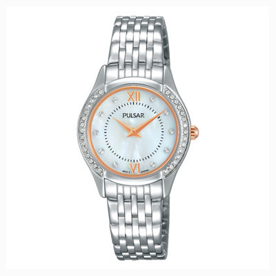 Pulsar® Ladies Silver-Tone with Swarovski Crystal Accents Watch PM2235