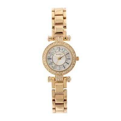 Elgin® Womens Gold Tone Crystal Accent T-Bar Bracelet Watch Eg9993