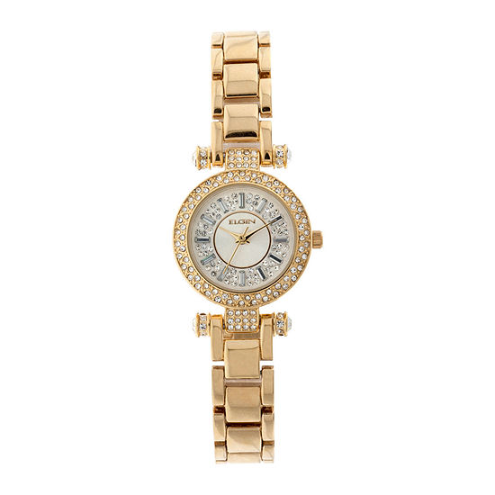 Elgin® Womens Gold Tone Crystal Accent T-Bar Bracelet Watch Eg9993