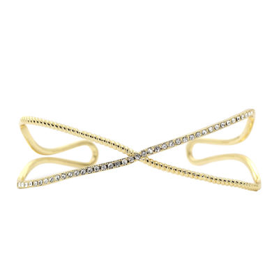 city x city® Cubic Zirconia Gold-Tone Brass X Bangle