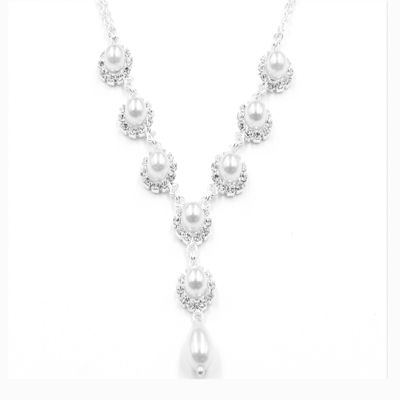 Vieste® Simulated Pearl & Crystal Flower Y Necklace