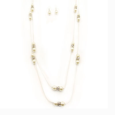 Vieste® Simulated Rose Pearl & Crystal Illusion Necklace and Earrings Set