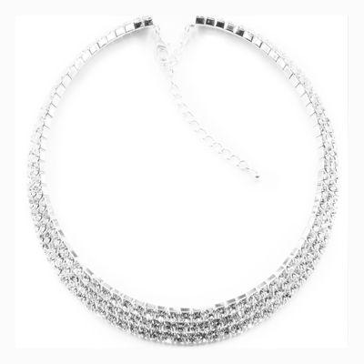 Vieste® Silver-Tone Crystal 3-Row Collar Necklace