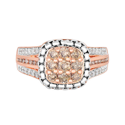 LIMITED QUANTITIES! 7/8 CT. T.W. Champagne Diamond 14K Rose Gold Over Silver Ring