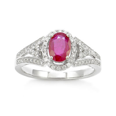 LIMITED QUANTITIES! 1/3 CT. T.W. Red Ruby 14K Gold Cocktail Ring