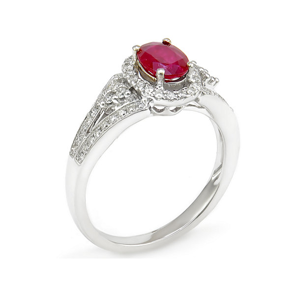 LIMITED QUANTITIES! Lead Glass-Filled Ruby 14K White Gold Ring