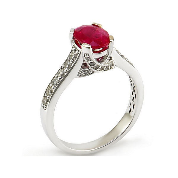Lead Glass-Filled Ruby 14K White Gold Ring