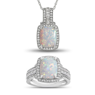 Lab Created Opal & Lab Created White Sapphire Sterling Silver 2 Pc. Boxed Set