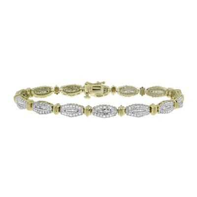 2 CT. T.W. Round And Baguette Diamond 10K Yellow Gold Bracelet