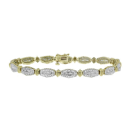 2 Ct T W Round And Baguette Diamond 10k Yellow Gold Bracelet