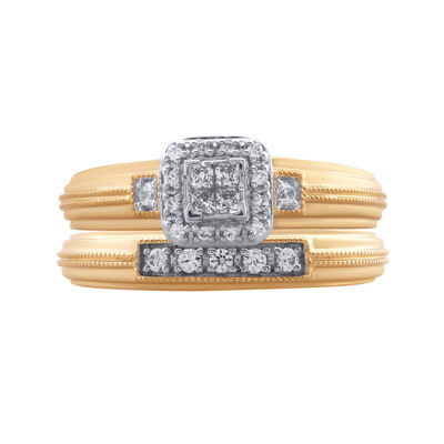 1/4 CT. T.W. Diamond 10K Two Tone Bridal Set